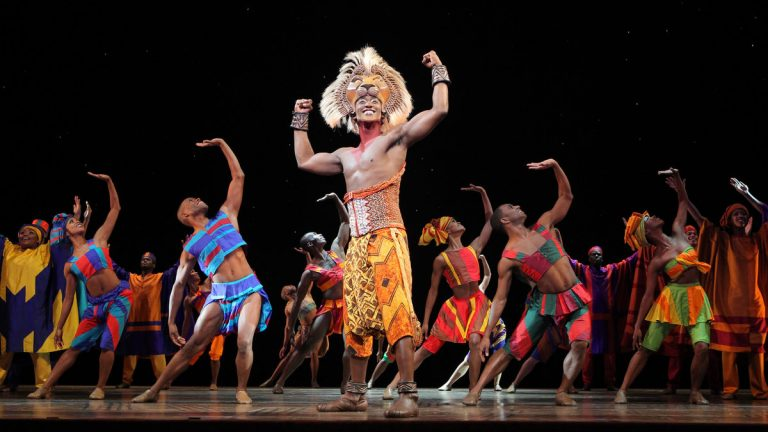 Jelani Remy as the older Simba and the ensemble in the song 'He Lives in You' from 'The Lion King' national tour. (Photo courtesy of Joan Marcus)