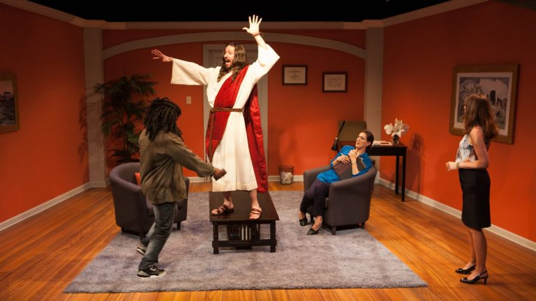 In InterAct Theatre Company's production of 'The Three Christs of Manhattan,' from left: Akeem Davis, Dan Hodge, Leah Walton and Judith Lightfoot Clarke.