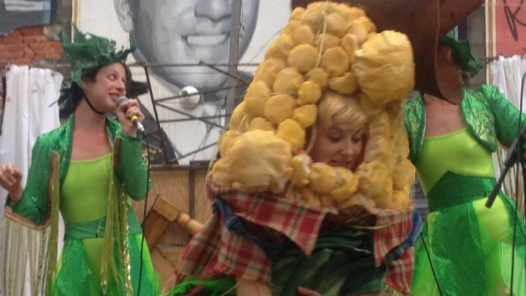 Mary Tuomanen as an ear of corn and to her left, Kristen Bailey, in the Bearded Ladies Cabaret production of 'Bitter Homes & Gardens.' (Photo courtesy of Howard Shapiro)