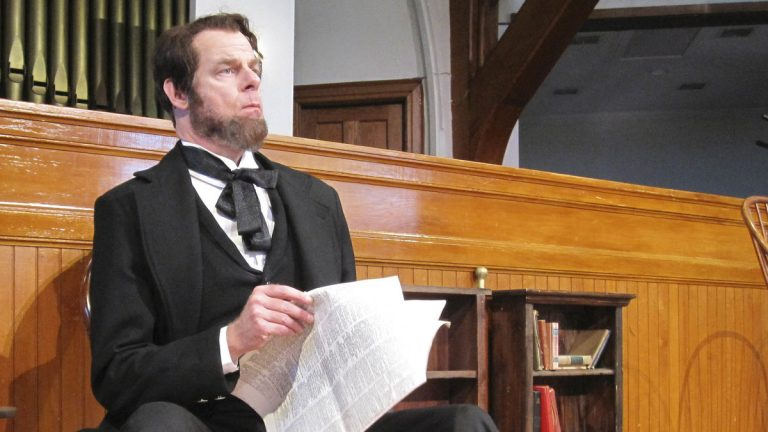 Tom Byrn as Abraham Lincoln in East Lynne Theater Company's production of 'Mr. Lincoln.' (Photo courtesy of Gayle Stahlhuth)