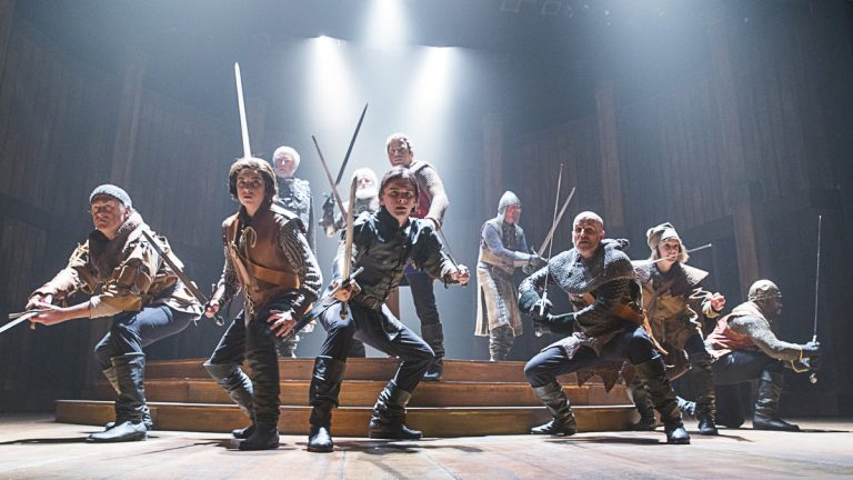 The ensemble of 'Henry V,' produced by the Pennsylvania Shakespeare Festival. (Photo courtesy of Lee A. Butz)