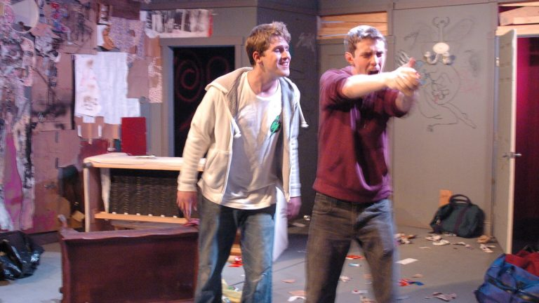 Samuel Fineman (left) and Joshua McLucas as brothers in BrainSpunk Theater's production of 'Mercury Fur.' (Photo courtesy of Matthew Gephart)