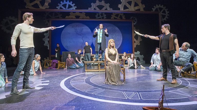 In the Pennsylvania Shakespeare Festival production of 'Pericles,' Christopher Patrick Mullen as Pericles, standing, center, addresses the King while Spencer Plachy, left, and Peter Danelski, right, prepare to execute the King's command as his daughter, played by Ally Borgstrom, awaits her fate. (Photo courtesy of Lee A. Butz)