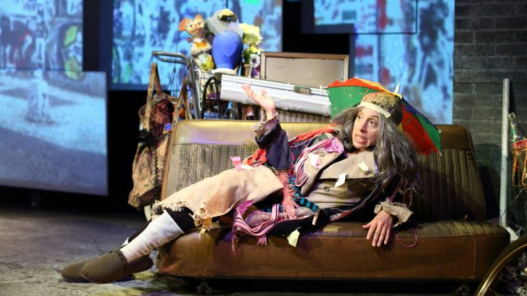 Tricia Alexandro as a bag lady, Trudy. She plays multiple characters in Cape May Stage's production of 'The Search for Signs of Intelligent Life in the Universe.'