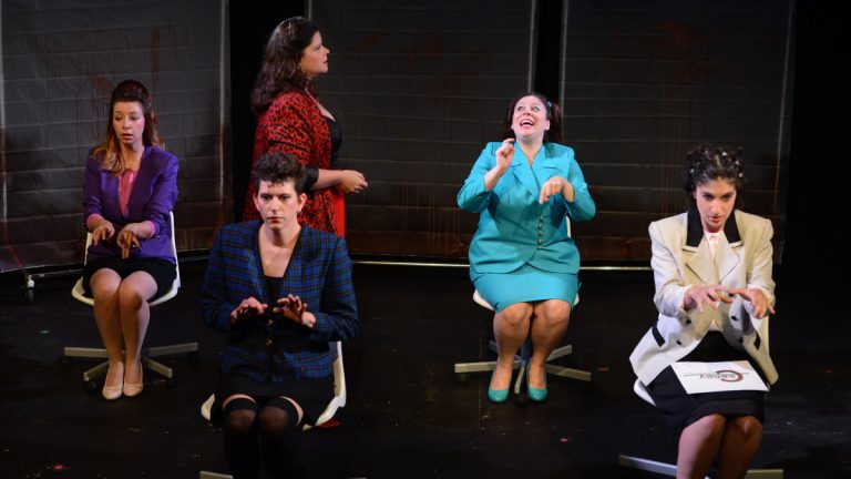 The cast of Quince Productions' 'The Secretaries,' part of 'GayFest!' (From left), Jennifer MacMillan, Amber Orion, Sarah Schol (in background), Katherine Perry and Emily Schuman. (Photo courtesy of John Donges)