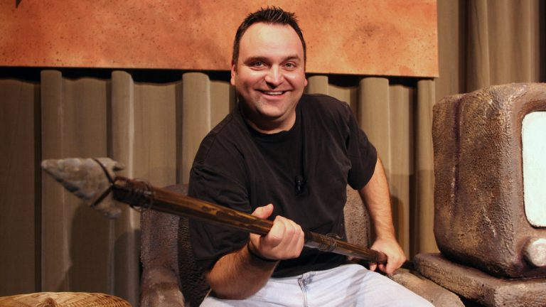 Vince Valentine in 'Defending the Caveman' at Penn's Landing Playhouse.