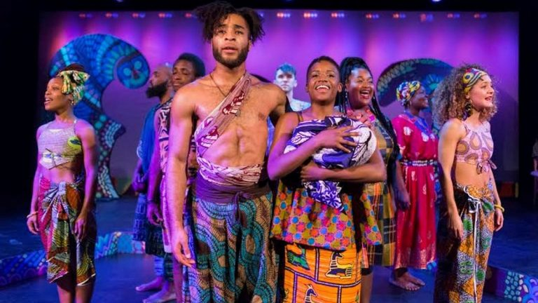 In the center, Kingsley Ibeneche as Joseph and Sanchel Brown as Mary, and the cast of 'Black Nativity' at Theatre Horizon in Norristown. (Photo courtesy of Matthew J. Photography)