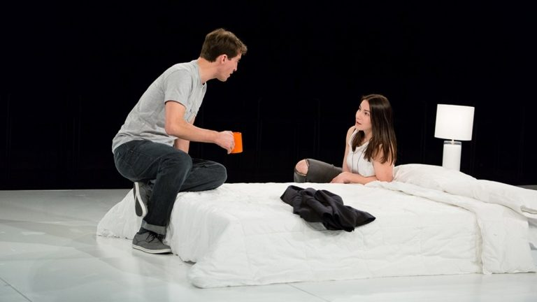 Ross Beschler and Sarah Gliko in Wilma Theater's production of 'The Hard Problem.' (Photo courtesy of Alexander Iziliaev)