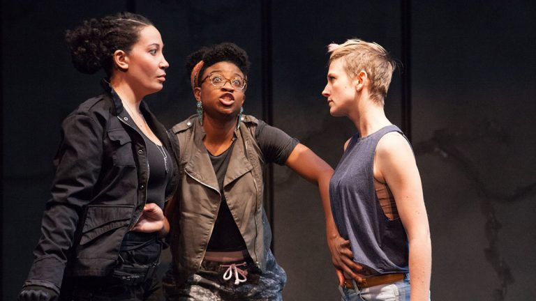 In InterAct Theatre Company's production of '#therevolution,' from left, Anita Holland, Brett Ashley Robinson, and Mary Tuomanen. (Photo courtesy of Plate3 Photography/Kate Raines)