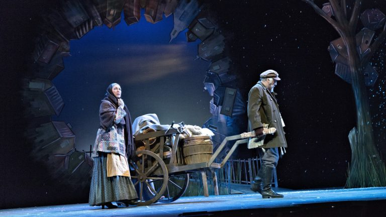 Joe Vincent as Tevye and Anne Kanengeiser as his wife in the Pennsylvania Shakespeare Festival production of