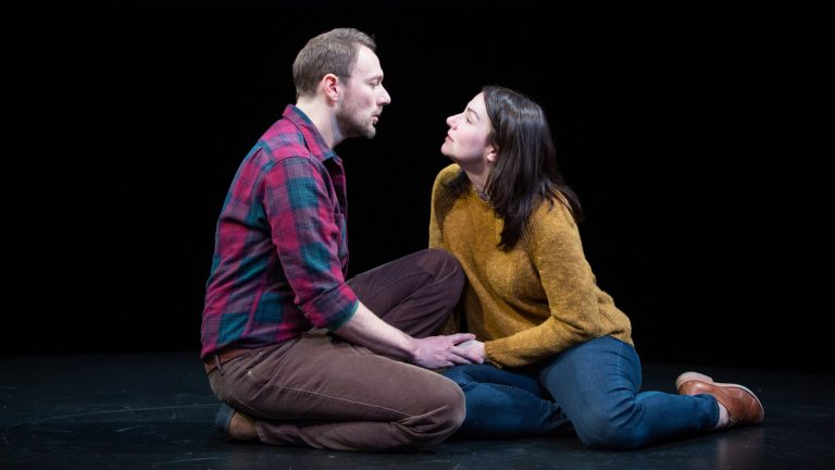Jered McLenigan and Sarah Gliko in the Wilma Theater production of 'Constellations.'(Photo courtesy of Alexander Iziliaev)