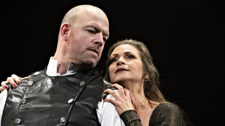 Ian Bedford as Macbeth and Susan Riley Stevens as Lady Macbeth in the Pennsylvania Shakespeare Festival production.(Photo courtesy of Lee A. Butz)