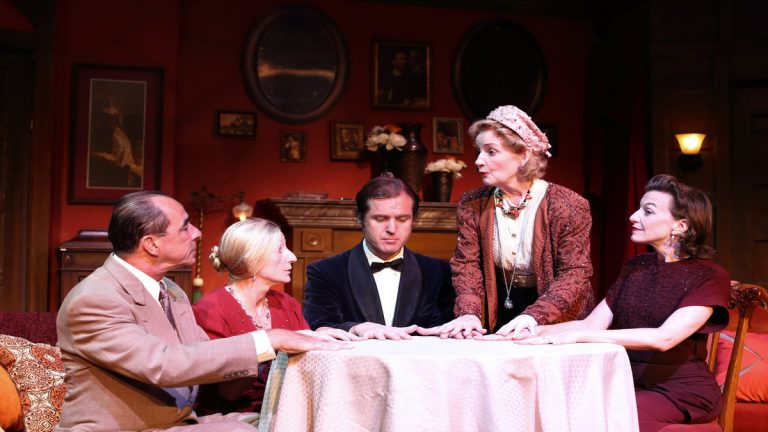 Around the seance table, left to right: Thomas Grube, Isabella Knight, Julian Elfer, Jennifer Harmon and Michelle Eugene, in Cape May Stage's production of 'Blithe Spirit.' (Photo courtesy of Aleksey Photography.)