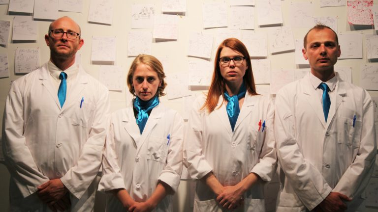 Members of the Institute for Psychogeographic Adventure, the resenters of 'Experiment #39 Old City' in the Fringe Festival. They are, from left, Andrew Goldberg, Emily Rea, Liza Wade Green and Radoslaw Konopka. (Photo courtesy of Steven Dufala)