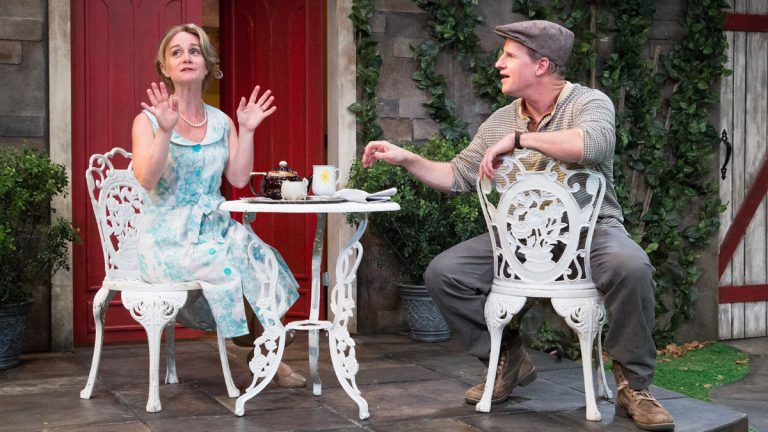 Jennifer Childs and Anthony Lawton in 1812 Productions' version of 'Intimate Exchanges.' The show opens its season and is also part of the Philly Fringe Festival. (Photo courtesy of Mark Garvin)