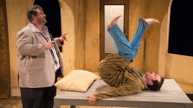 Ethan Lipkin (left) and David Stanger in the Ideopathic Ridiculopathy Consortium's production of 'Rhinoceros.' (Photo courtesy of Johanna Austin)