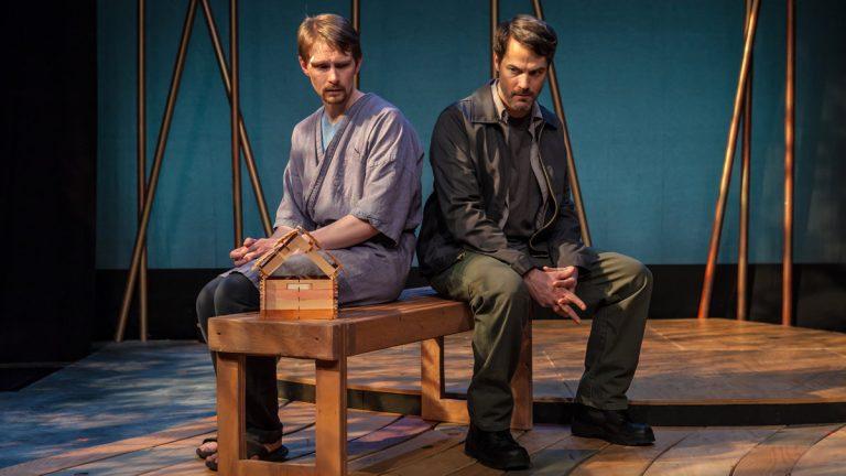 Ahren Potratz and Allen Radway in Simpatico Theatre Project's production of 'In a Dark Dark House' (Photo courtesy of Daniel Kontz)