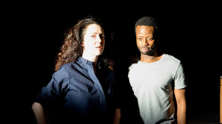 Derbhle Crotty and Clifford Samuel in 'The Events' at Annenberg Center. (Photo courtesy of Actors Touring Company.)
