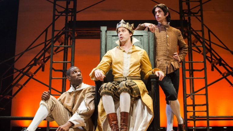 In Quintessence Theatre Group's 'Richard II,' from left: Ashton Cater, James-Patrick Davis (as Richard II), and Alexander Harvey. (Photo courtesy of Shawn May)