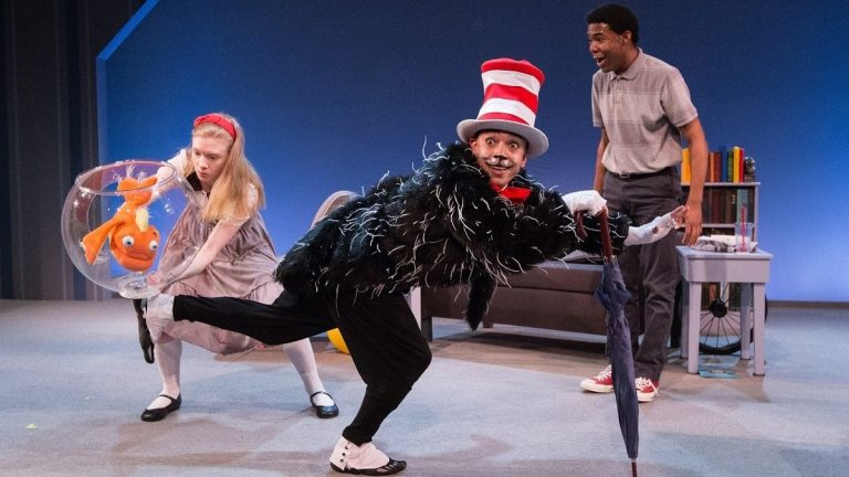 A somewhat crotchety fish, Maggie Johnson, Doug Hara (as the Cat) and Richard Crandle in Arden Theatre Company's production of 'The Cat in the Hat' by Dr. Seuss. (Photo courtesy of Mark Garvin)