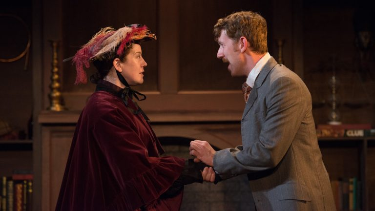 Corinna Burns and Griffin Stanton-Ameisen in Azuka Theatre's production of 'The (Curious Case of the) Watson Intelligence.' (Photo courtesy of AustinArt.com)