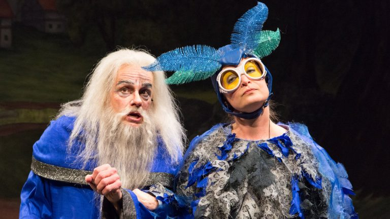Christopher Patrick Mullen and Susan McKey in the new People's Light & Theater Company panto, 'Arthur and the Tale of the Red Dragon.' (Photo courtesy of Mark Garvin)