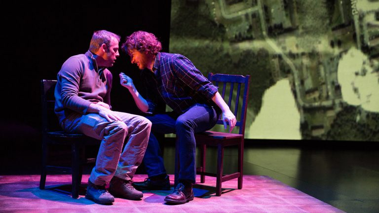 Ian Merrill Peakes  (left) and Harry Smith in Wilma Theater's production of 'The Body of an American.' (Photo courtesy of Alexander Iziliaev)