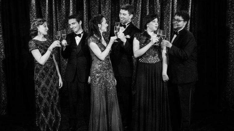 The cast of Mauckingbird Theatre Company's production of 'Hot 'n' Cole,' from left: Michelle Eugene, Luke Brahdt, Nicole Renna, John McCarthy, Jenna Roglaski, and Philip Anthony Wilson.  (Photo courtesy of Luis Fernando Rodriguez)