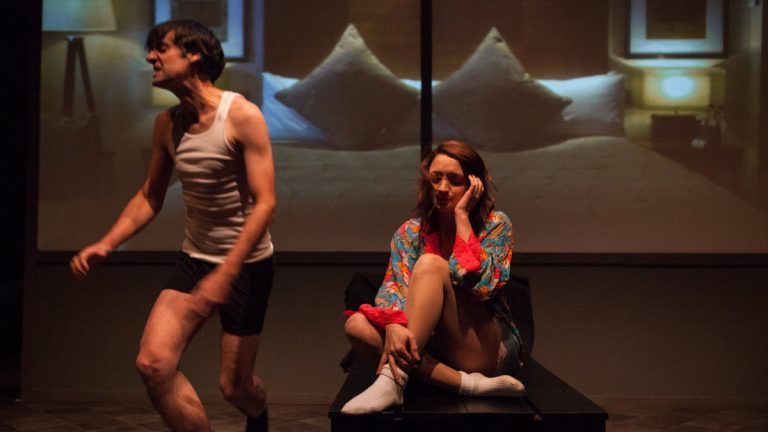 Sam Henderson and Gina Martino in Luna Theater Company's production of 'Closer.' (Photo courtesy of Kate Raines, Plate3 Photography)