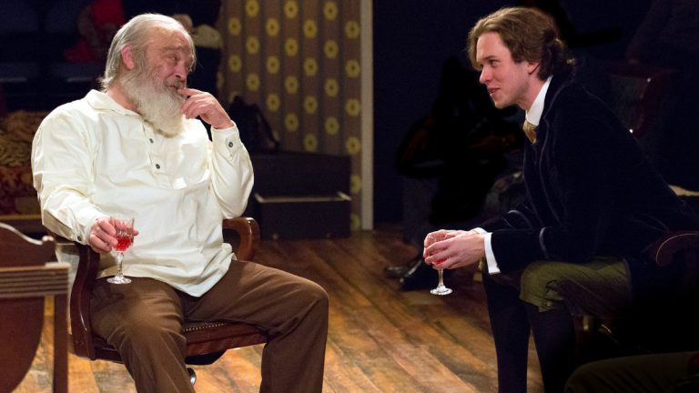 Buck Schirner (left) as Walt Whitman and Daniel Fredrick as Oscar Wilde in Walnut Street Theatre's production of 'Mickle Street.'