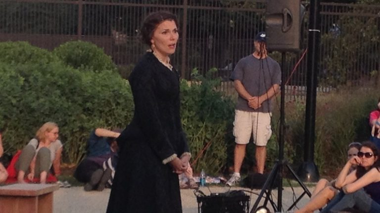 Jessica DalCanton as Olivia in Commonwealth Classic Theatre Company's 'Twelfth Night' opening performance, at the Parkway outside the central Free Library. (Photo courtesy of Howard Shapiro)