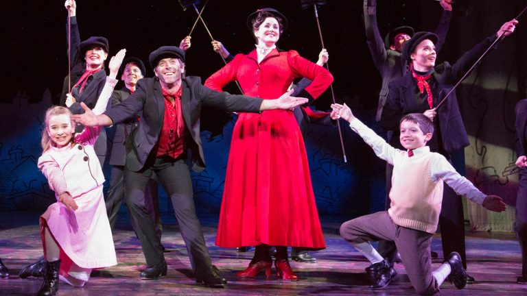 In Walnut Street Theatre's production of 'Mary Poppins,' from left: Cameron Flurry, David Elder (as Bert), Lindsey Bliven (as Mary Poppins) and Jacob Wilner. (Photo courtesy of Mark Garvin)