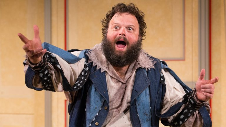 Scott Greer in the title role of 'La Bête' at Arden Theatre Company. (Photo courtesy of Mark Garvin)