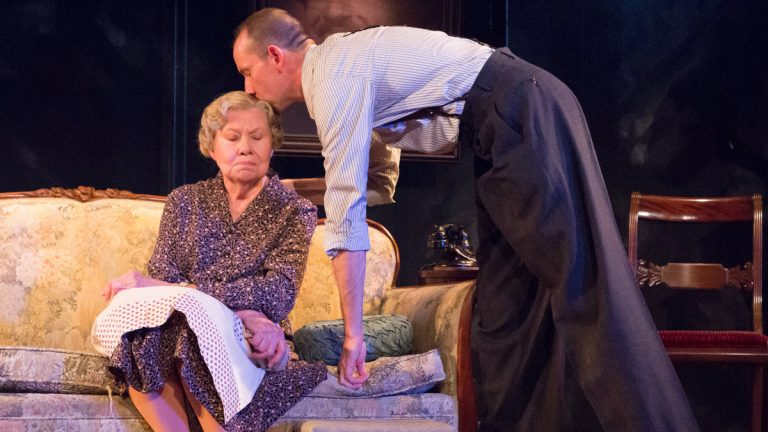 Carla Belver as Amanda Wingfield and Charlie DelMarcelle as her son, Tom, in Act II Playhouse's production of 'The Glass Menagerie.' (Photo courtesy of Mark Garvin)