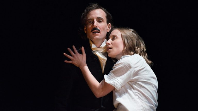 Ean Sheehy and Alessanda L. Larson in the New York Theatre Workshop production of 'Red-Eye to Havre de Grace,' which was first produced  by Philadelphia FringeArts before its current Off-Broadway appearance. (Photo courtesy of Johanna Austin)