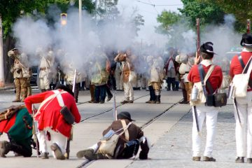 A scene from last year's Battle of Germantown re-enactment. (Bas Slabbers/for NewsWorks)