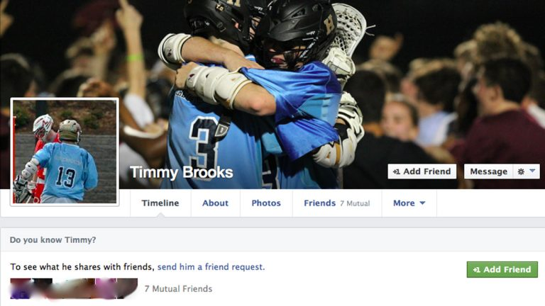 Upon finding Timothy C. Brooks on Facebook, the author discovered that she had seven friends in common with him. (Screen grab courtesy of Samira Baird)