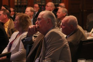 Vidocq Society members listen thoughtfully while the detectives present their case. (Emma Lee/WHYY)
