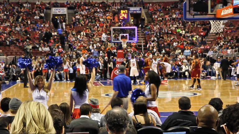 The Philadelphia 76ers play a game at their home court, the Wells Fargo Center. (Kimberly Paynter/WHYY)