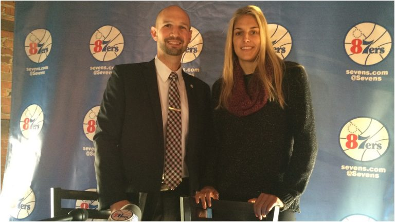 Delaware 87ers President Aaron Moszer and WNBA Chicago Sky guard Elena Delle Donne (Shirley Min/WHYY)