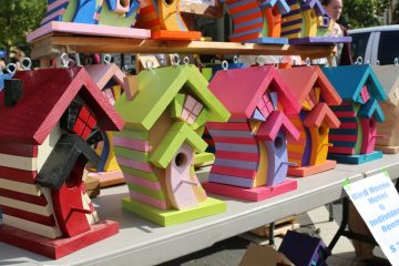 Crooked birdhouses are a part of a unique display by Peppen Wood Products (Natavan Werbock/for NewsWorks)