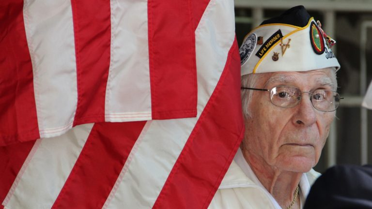 Pearl Harbor Survivor Alexander R. Horanzy attends a memorial ceremony in Philadelphia in 2012. (NewsWorks file photo)