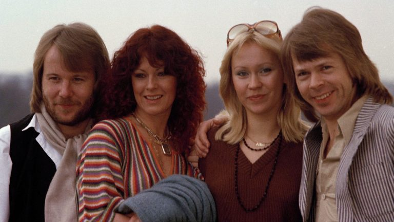 Members of the Swedish pop group ABBA are shown together in London in 1978. From left: Benny Andersson, Anni-Frid Lyngstad, Agnetha Faltskog and Bjorn Ulvaeus. (AP Photo)