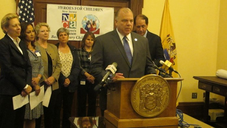 Advocates join New Jersey Senate President Steve Sweeney in urging legislative approval of a measure to expand child advocacy centers statewide.(Phil Gregory/WHYY)