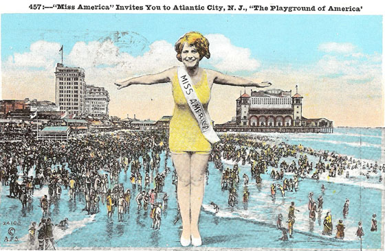 In this postcard from 1926, Miss America beckons you to Atlantic City, her forever home. / Image from MonopolyCity.com