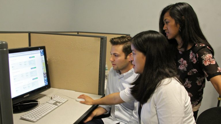 What is the young adult experience with the Affordable Care Act website? Researchers (from left) Mike Kaiser, Charlene Wong and Cjloe Vinoya have some recommendations for improving it. (Emma Lee/WHYY)