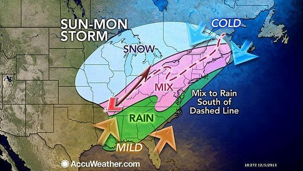 AccuWeather's forecast for the storm for Sunday into Monday. (Image: AccuWeather.com)