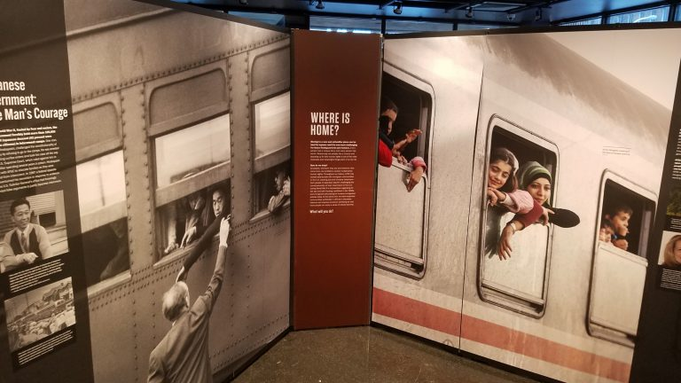 An interactive exhibit celebrating the 100th anniversary of the American Friends Service Committee premieres at the African American Museum in Philadelphia. (Peter Crimmins/WHYY)