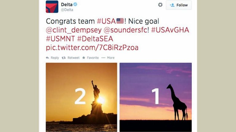Last month Delta airlines' congratulatory tweet for the US World Cup victory over Ghana caused controversy.  The company later removed the tweet and apologized.