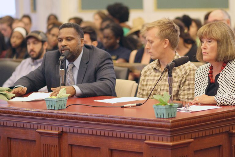 Urban garden supporters talk about their work at a Wednesday City Council hearing.